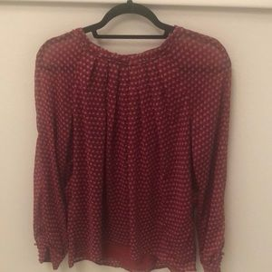 Red Patterned Blouse, Barely Worn!